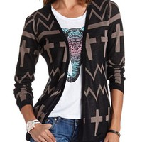 Chevron Cross Lightweight Cardigan: Charlotte Russe