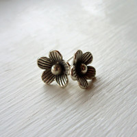 Pinstripe Button Flower Earrings in Sterling Silver - Limited Edition