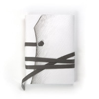 White Leather Journal / Notebook / Diary in Gray, Black and White - The Minimalist