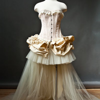 Custom Size Peach and ivory Burlesque Corset  wedding prom dress with train