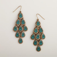 Gold and Teal Chandelier Earrings | World Market