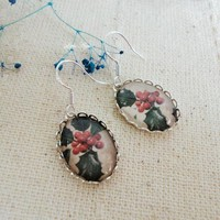 Limited edition Christmas berry California holly oval glass earrings