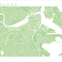 Boston Map Print, Massachusetts Art Poster