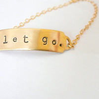$24.00 ID bracelet Personalized LOVE Brass bracelet by minusOne