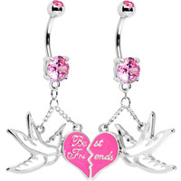 Broken Heart Sparrow Birds Best Friends Belly Ring Set | Body Candy Body Jewelry
