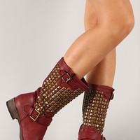 Liliana Rokka-1 Studded Buckle Riding Mid Calf Boot