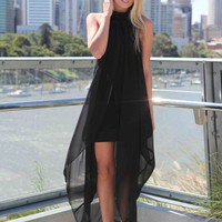 Black High Neck Ruffle Sleeveless Maxi Dress