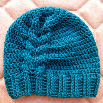 Beanie Turquoise Blue Crocheted Hat with a Cable Adult Size