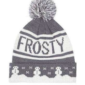 Grey and White Frosty Bobble Hat