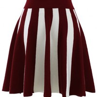 Strips Knitted Skirt in Wine Red