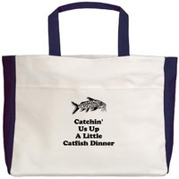 Catchin Us Up A Little Catfish Dinner Beach Tote> Catchin' Us Up A Little Catfish Dinner> Twisted Twang