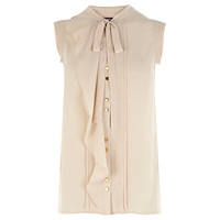 Buy Oasis Pintuck Frill Blouse, Off White online at John Lewis