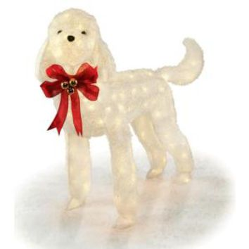 42 in. White Tinsel Lighted Dog, TY436-1314 at The Home Depot - Mobile
