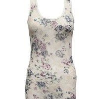 Ladies Blue White Floral Pattern Lace Tank Top