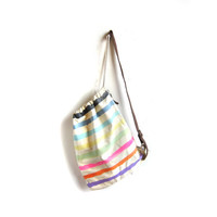 SAMPLE SALE Ditsy Stripes - Splash Dyed Hand PAINTED Cotton Canvas Cinch Sling Back Bag with Leather Shoulder Strap