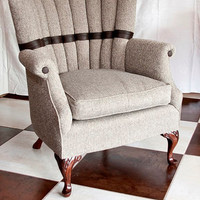 Sophisticated Soft Brown Tweed and Faux Leather Custom Upholstered Vintage Chair with Mahogany Queen Anne Legs