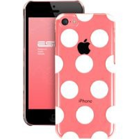 ESR the Beat Series Clear Back Cover Snap on Case for iPhone 5C (Polka Dots)