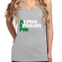 Fine Jersey Alpha Epsilon Phi Tank - Stacked - Alpha Epsilon Phi - Greek