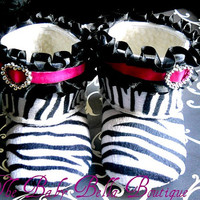 Zebra baby crib boot . Baby Girl soft sole booties,Girl boots