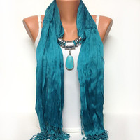 light teal jewelry scarf - wrinkle solid scarf with natural gemstone pendant gift or for you NEW SEASON