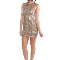 Sequined Mini Dress - Taupe