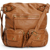T-Shirt & Jeans Cognac Faux Leather Crossbody Tote Bag at Zumiez : PDP
