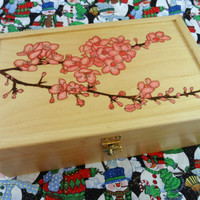 Wood Burned Cherry Blossom Box