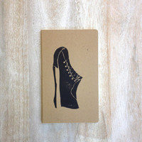 Hand printed notebook journal for him or dude stationary and party