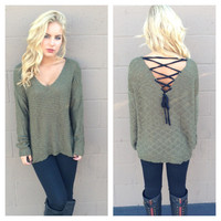 Olive Corset Back Knit Sweater