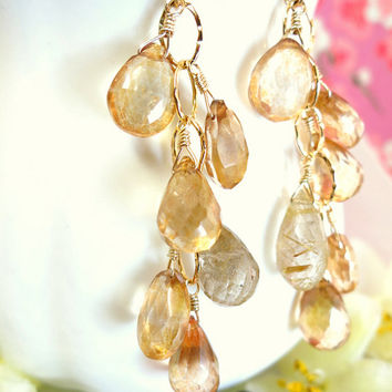 Champagne quartz cluster gold filled chandelier earrings, Sun kissed mystic quartz, gold rutilated quartz cluster chandelier earrings