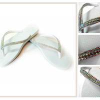 Slim Havaianas Thongs Flip Flops sandals Featuring Clear Swarovski Crystal Mesh