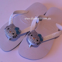 Havaianas Flip Flops Featuring Hand Applied Crystal Kitty WH02