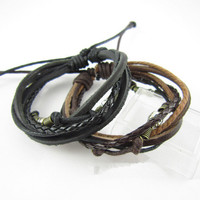 couple bracelet 2 color real leather bracelet women Leather Bracelet Men leather bracelet, boyfriend gift  T074