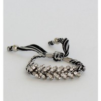 Braided Rhinestones Black and White Bracelet