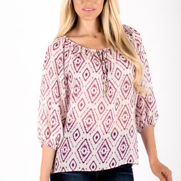 Sheer Pattern Blouse - Women's Clothing and Fashion Accessories | Bohme Boutique
