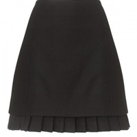 Fine Wool Stretch Ruffle Skirt
