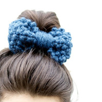 Hair Bow - Bow Hairband - Chunky Knit Bow Hairband -  Denim Blue - Customisable