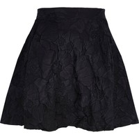 Black floral embossed skater skirt