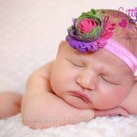 Baby Headband, Newborn headband, Pink Rainbow Flower, Newborn girl props, Kids Hair Accessories, Canada