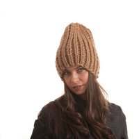 Knit Winter Hat, Bulky Beanie, Wool Hat Unisex Hat by Solandia, Knitting Hat beige unisex, children, grownups, teen urban ski christmas gift