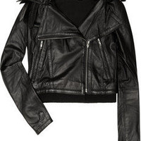 By Malene Birger Pauli detachable-collar leather biker jacket - 60% Off Now at THE OUTNET