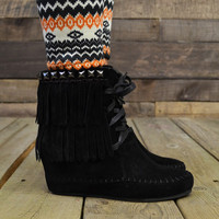 Zora Studded Fringe Moccasin Wedge Bootie Black