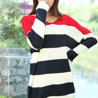 FASHION SPELL COLOR STRIPE LOOSE SWEATER Red