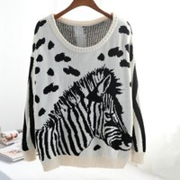 ZEBRA ANIMAL PRINT SWEATER Almond