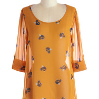 Just a Critter Bit Top in Foxes | Mod Retro Vintage Short Sleeve Shirts | ModCloth.com