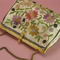 Vintage French Embroidered Evening Bag | AVintageJourney - Accessories on ArtFire