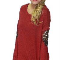 Patched With Love Top: Wine SOLD OUT! - HipSway