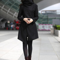 High Collar Wool Jacket Winter Wool Coat for Women in Black - Custom Made - NC498