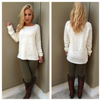 Ivory Knit Fuzzy Warm Sweater