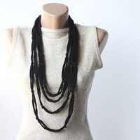 Black elegance - Knot necklace - summer night jewelry - fiber necklace - infinity scarf
